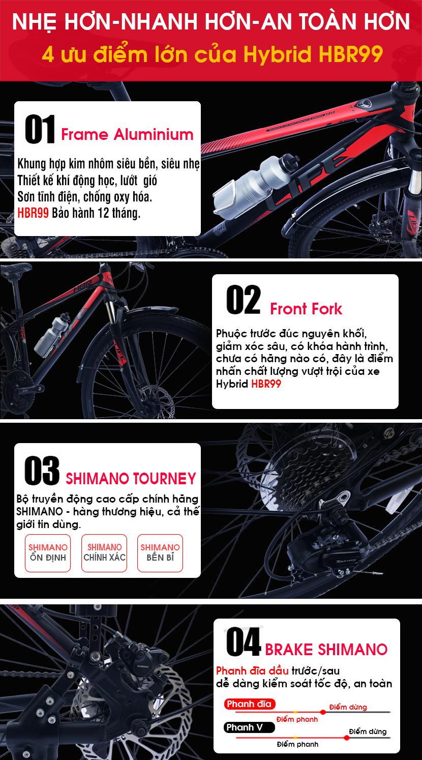 Các ưu điểm của xe đạp Hybrid Life HBR99