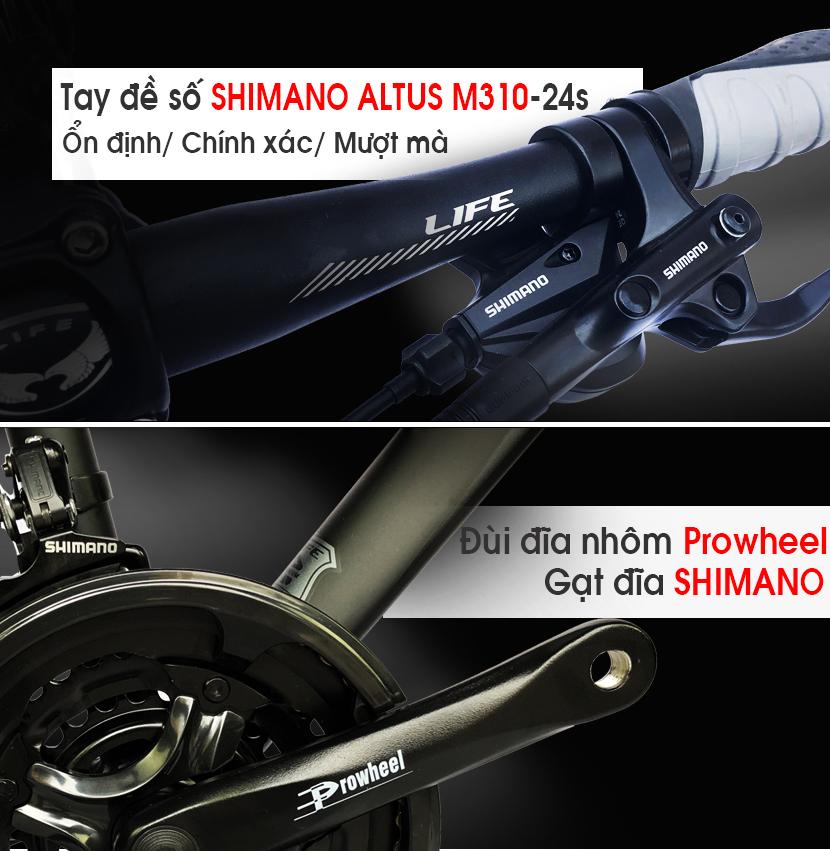 Tay đề - Đùi đĩa xe đạp Hybrid Life HBR99