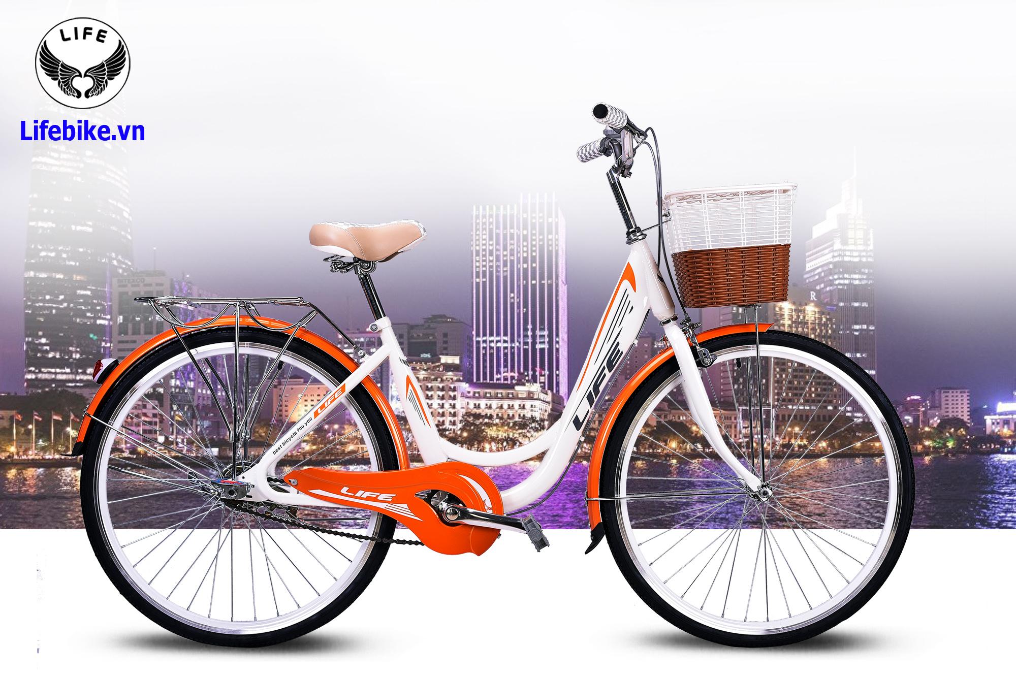 Xe đạp Life LYD26 trắng cam
