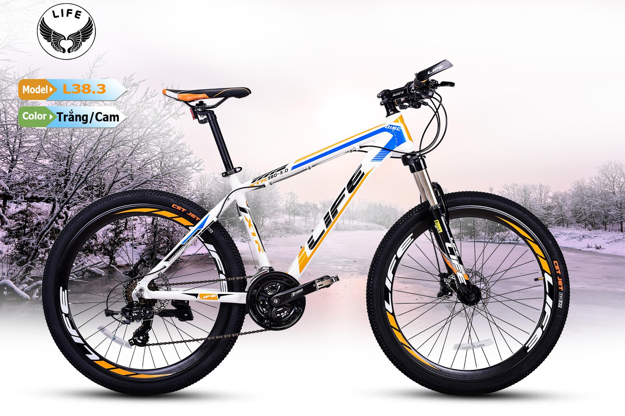 Xe đạp Life L38.3 trắng cam