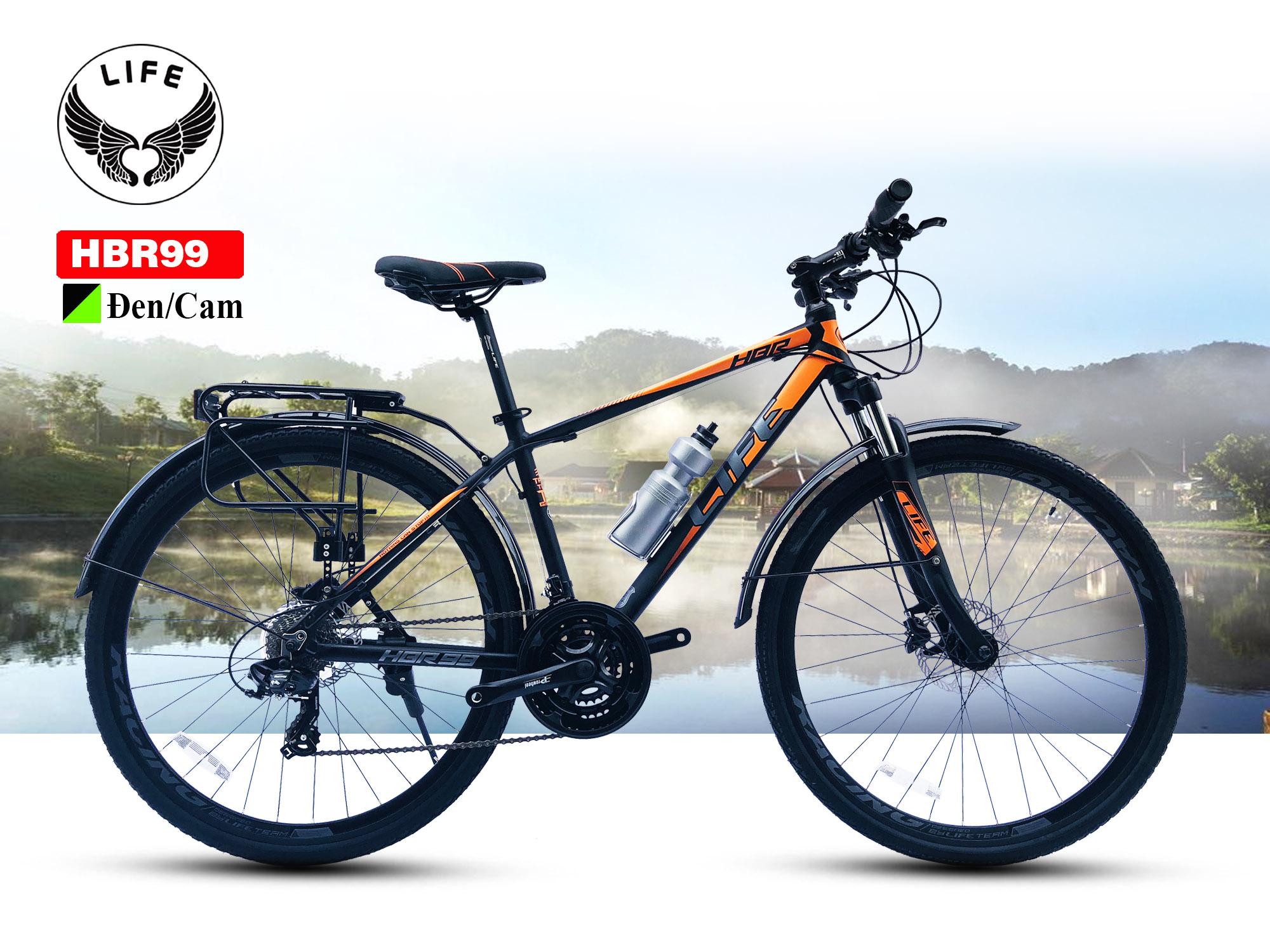 Xe đạp Hybrid Life HBR99 màu đen cam