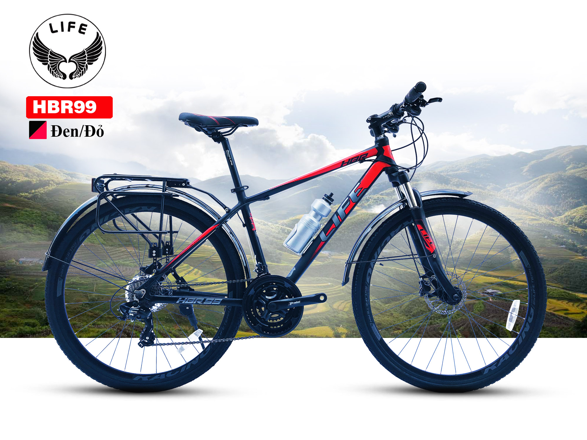 Xe đạp Hybrid Life HBR99 màu đen đỏ
