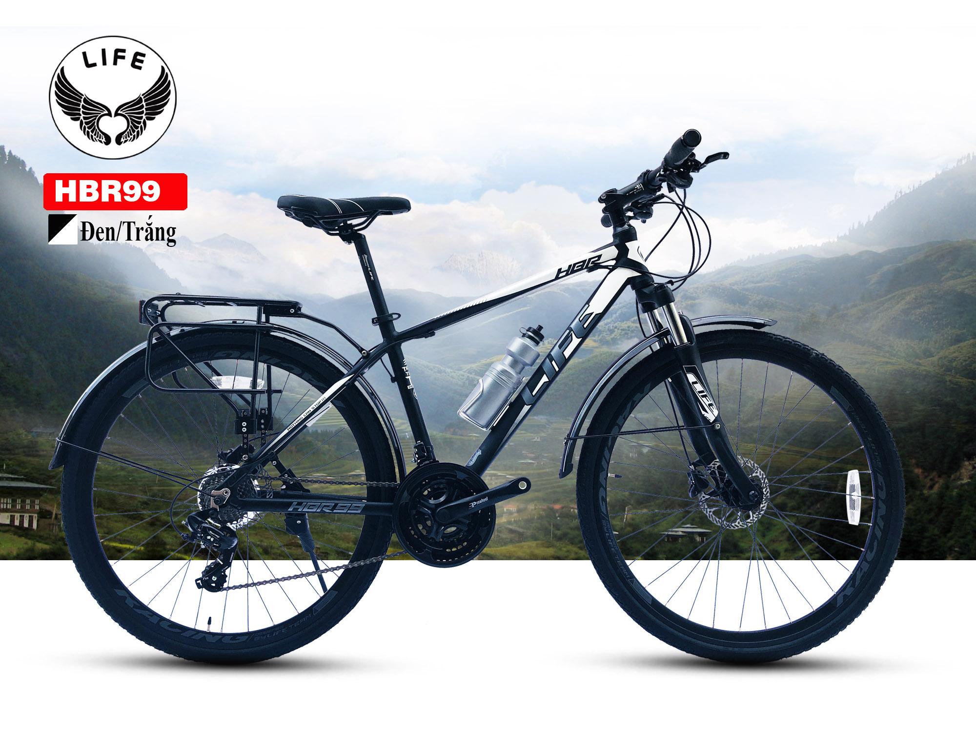 Xe đạp Hybrid Life HBR99 màu đen trắng