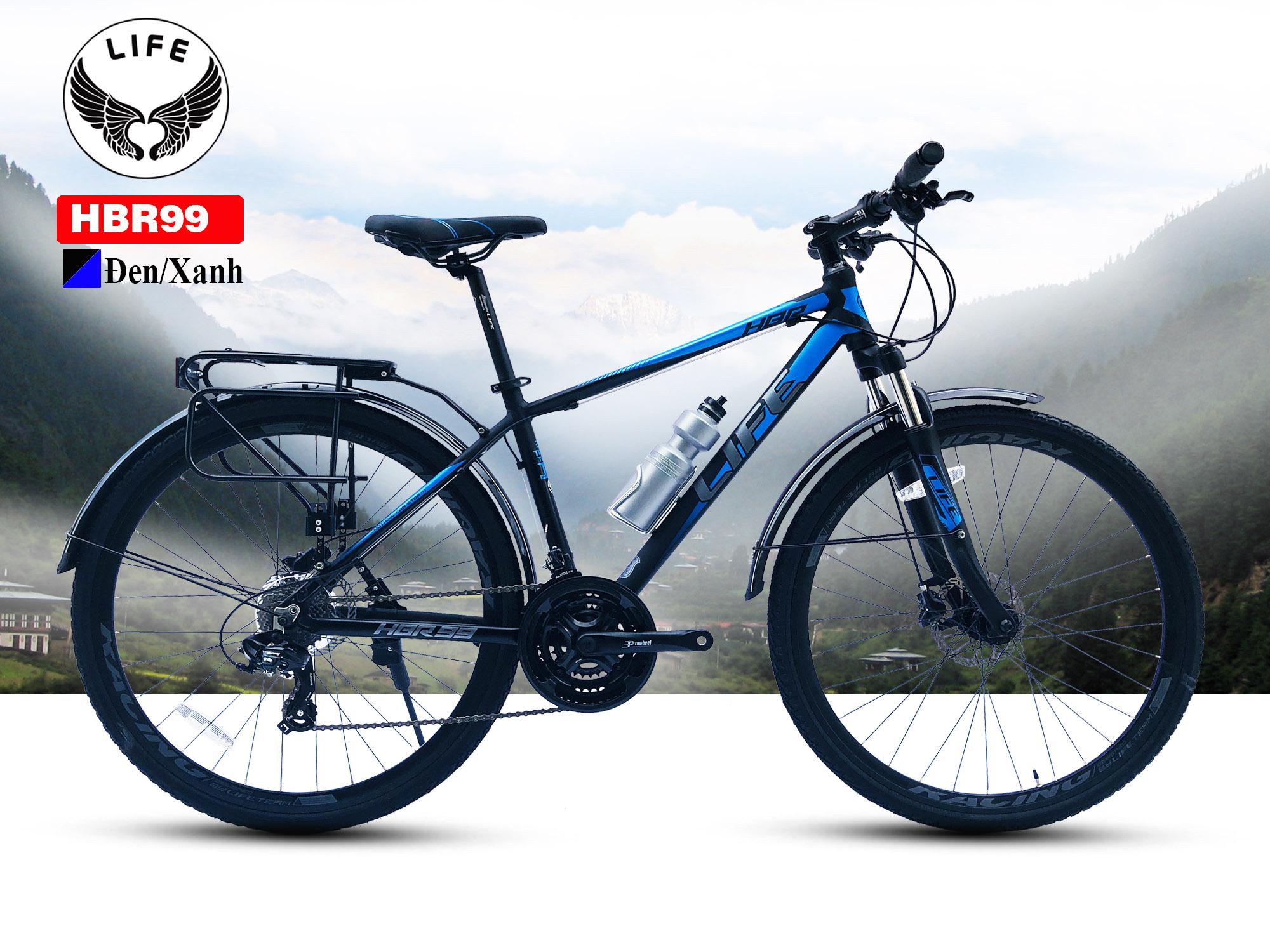 Xe đạp Hybrid Life HBR99 màu đen xanh