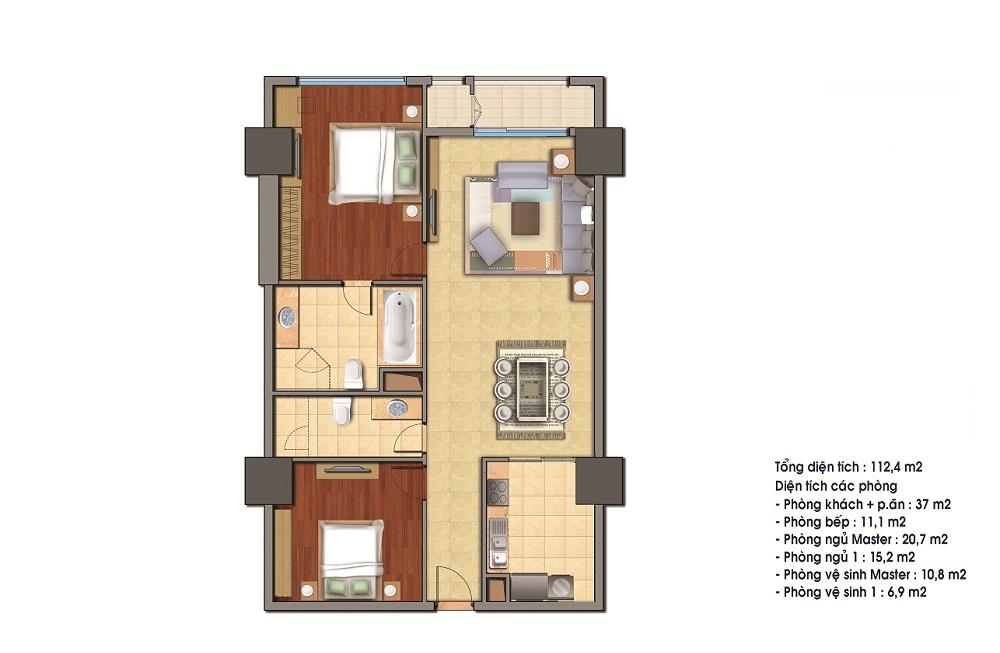 Bán căn 22 tòa R5 112.4m2