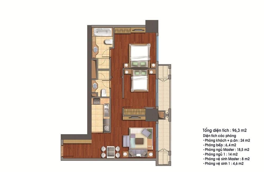 Bán căn 24 tòa R1 96.3m2