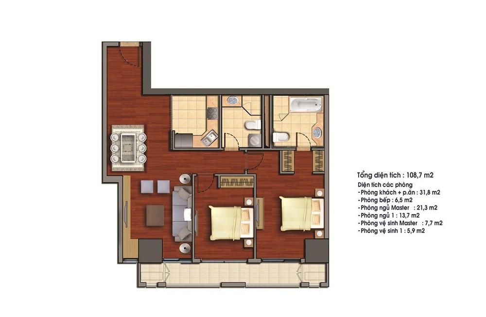 Cho thuê căn hộ 108.7m2 tòa R1