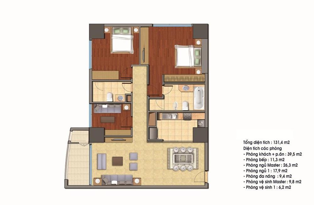 Cho thuê căn hộ 131.4m2 tòa R4