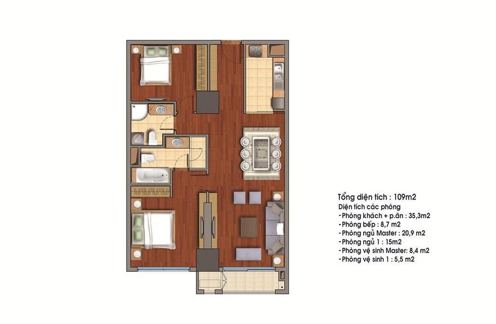 Cho thuê căn hộ 109m2 tòa R1