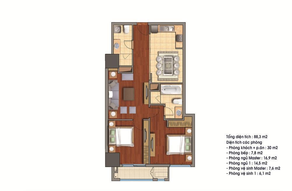 Cho thuê căn hộ 88.3m2 tòa R1