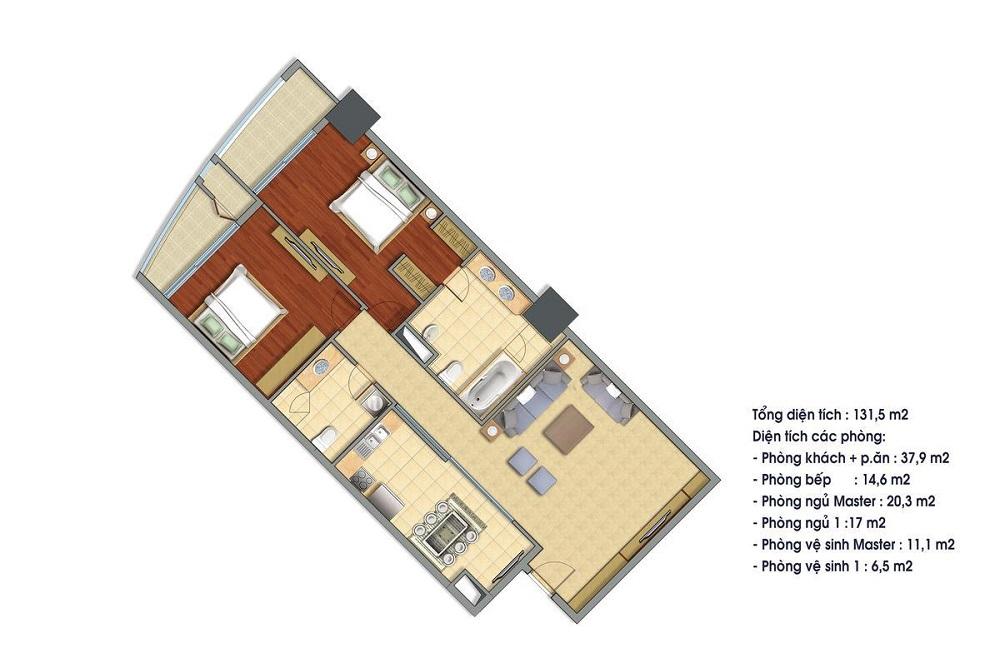 Cho thuê căn hộ 131.5m2 tòa R5