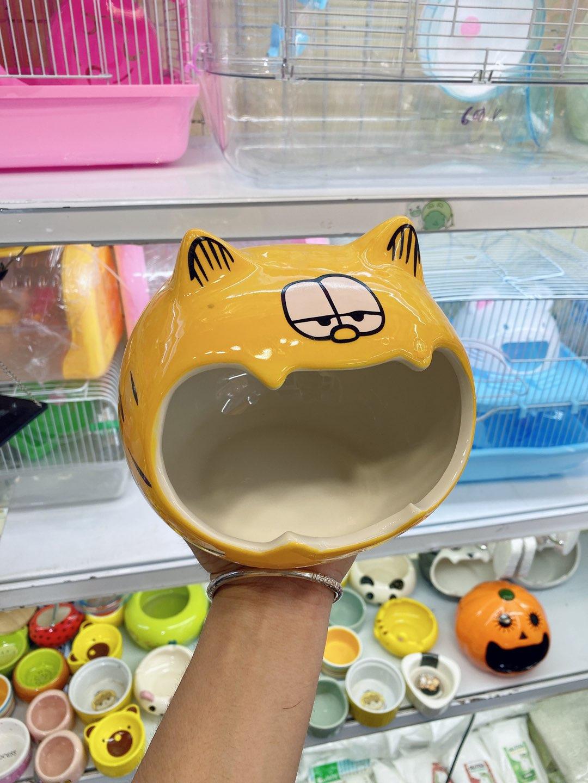 Nhà ngủ sứ mèo vàng bự cho hamster