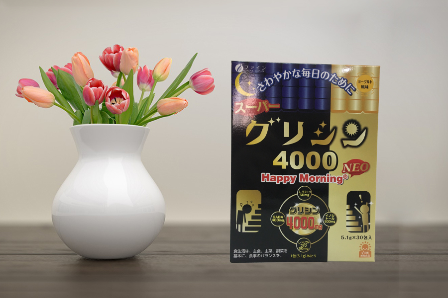 Bột ngủ ngon cao cấp - Super Glycine 4000 Happy Morning (Giải pháp cho đêm ngon giấc, ngày tràn năng lượng)
