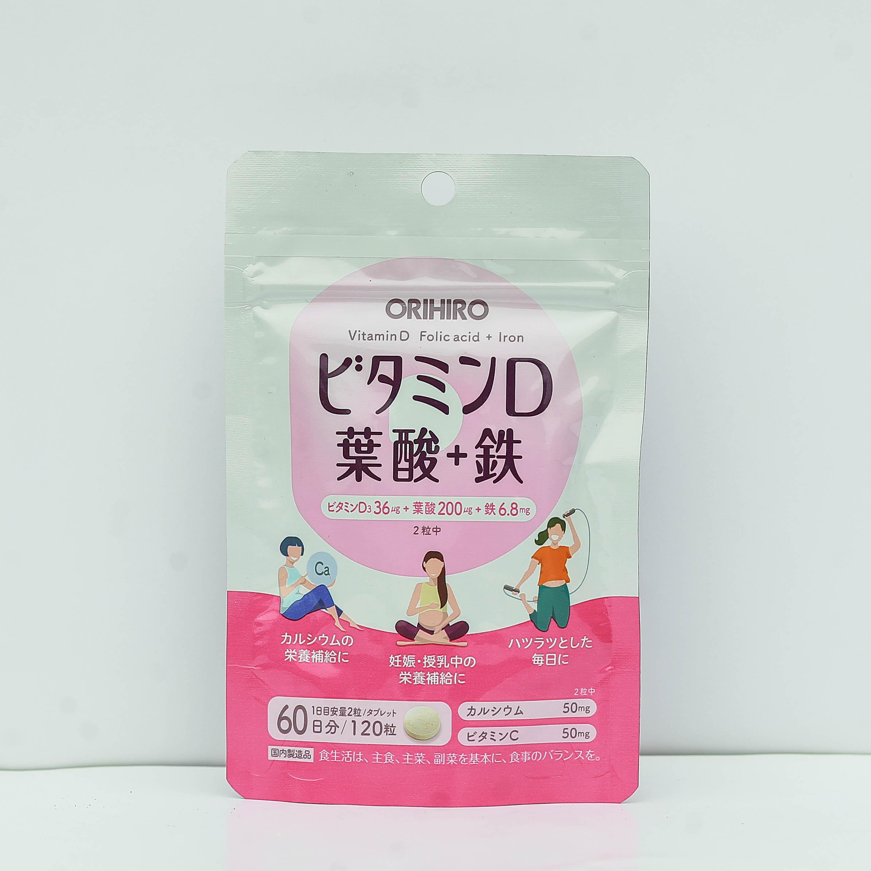 Viên uống bổ sung vitamin D, axit folic, sắt Orihiro