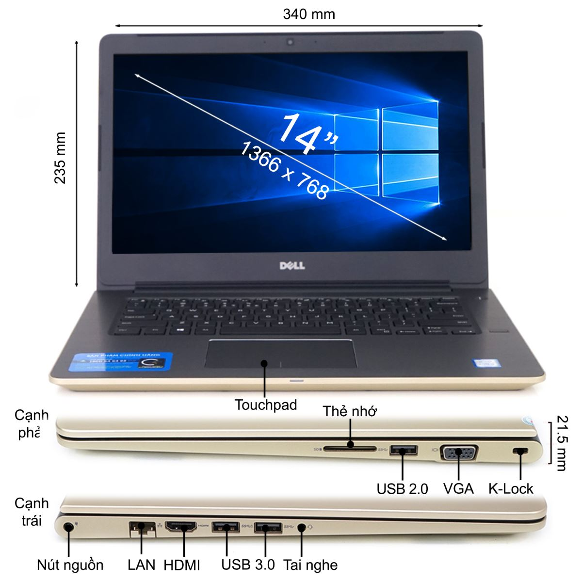 Laptop DELL Vos V5468 V5468A - Gold