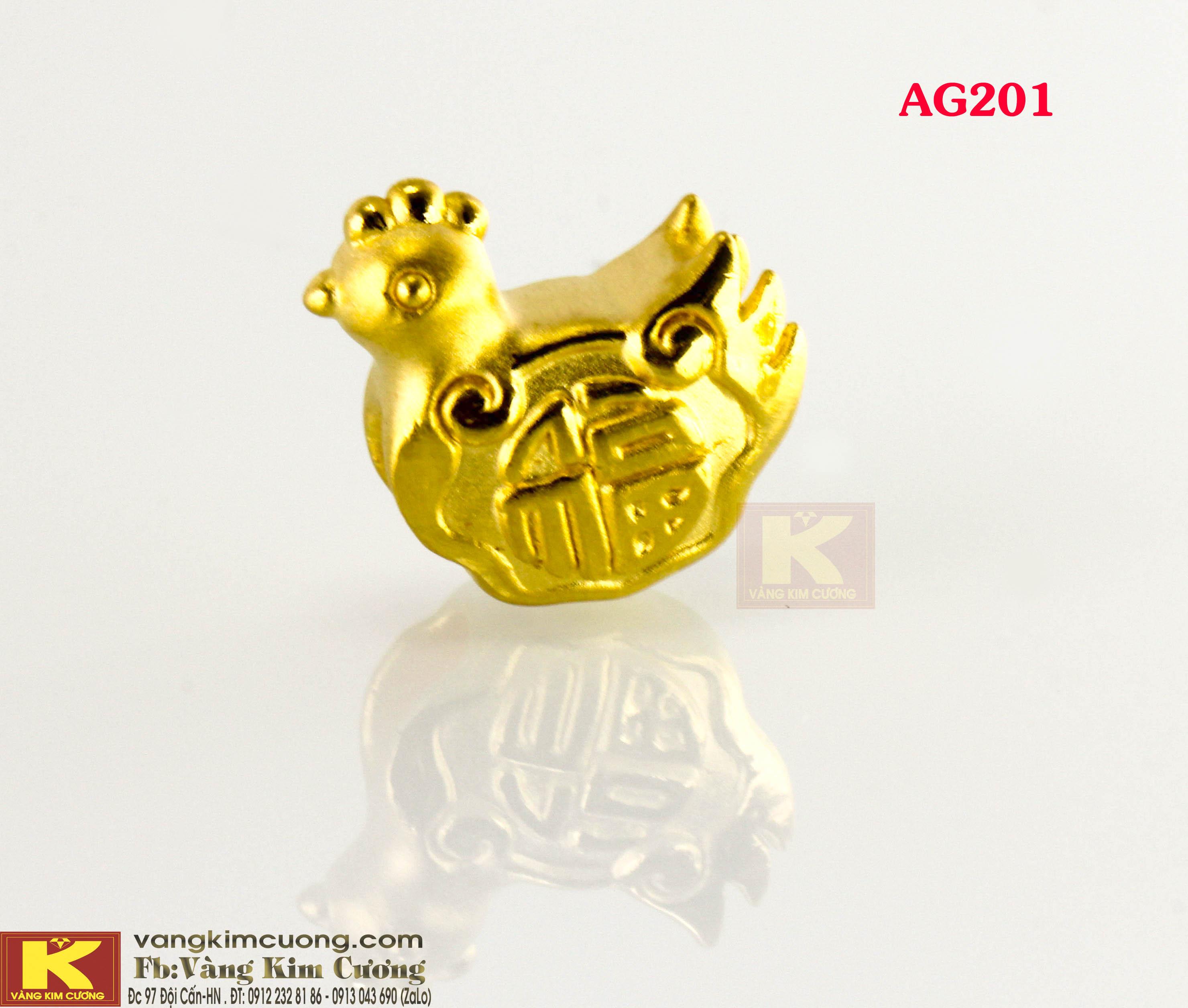 Charm Gà vàng 24k mã AG201