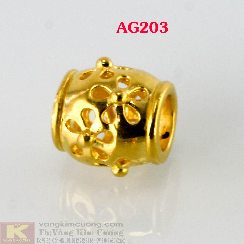 Charm trụ gắn hoa 24k mã AG203