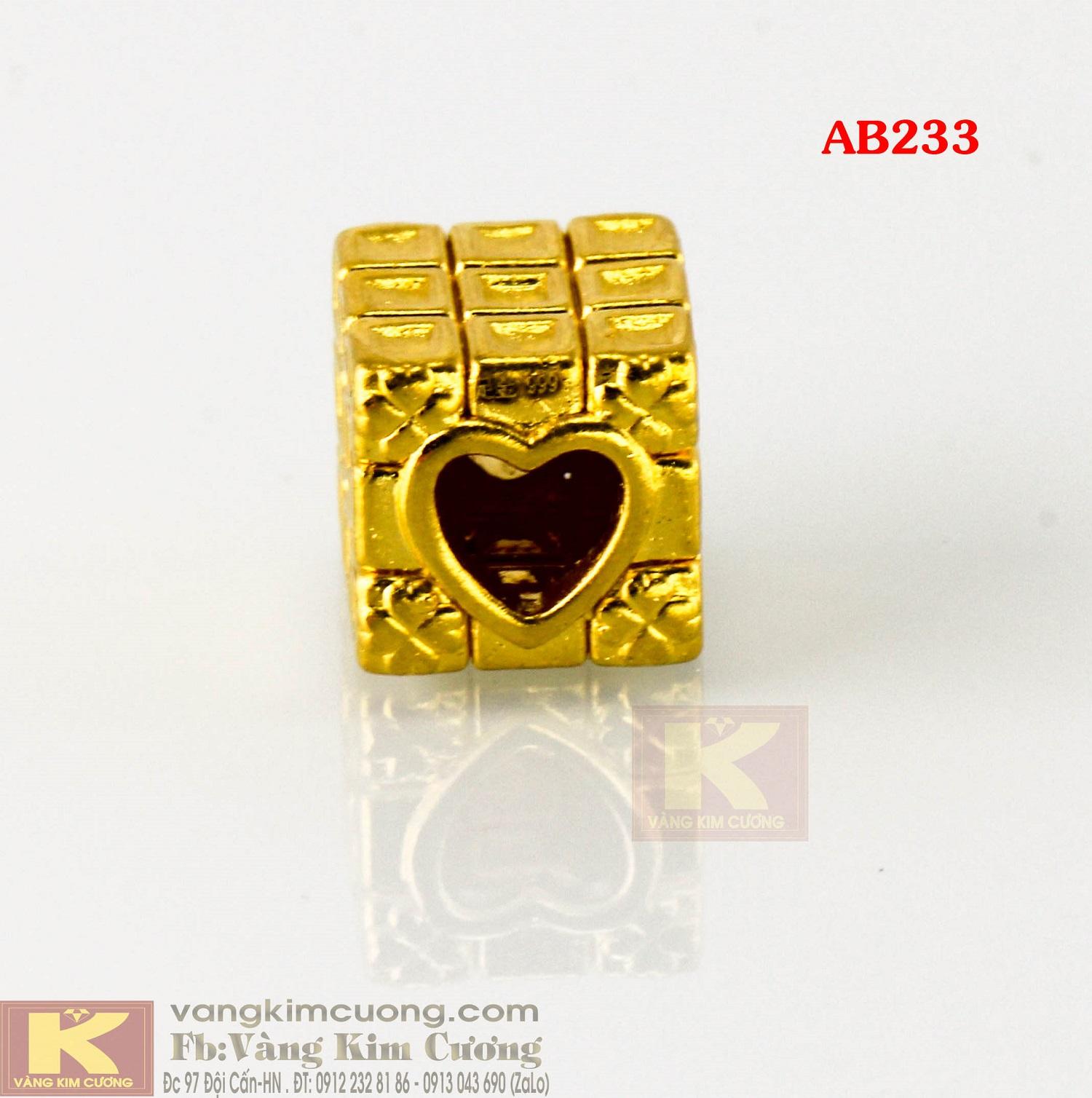 Charm trái tim rubic 24k mã AB233