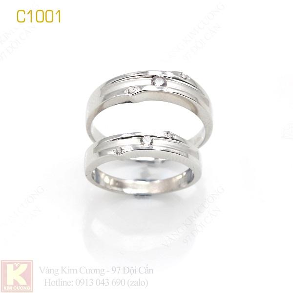 Nhẫn cưới vàng trắng 18k italy C1001