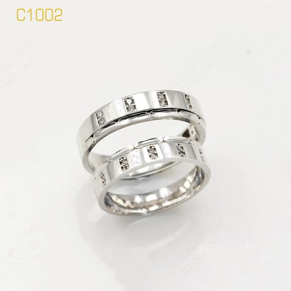 Nhẫn cưới vàng trắng 18k italy C1002