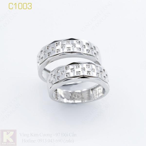 Nhẫn cưới vàng trắng 18k italy C1003