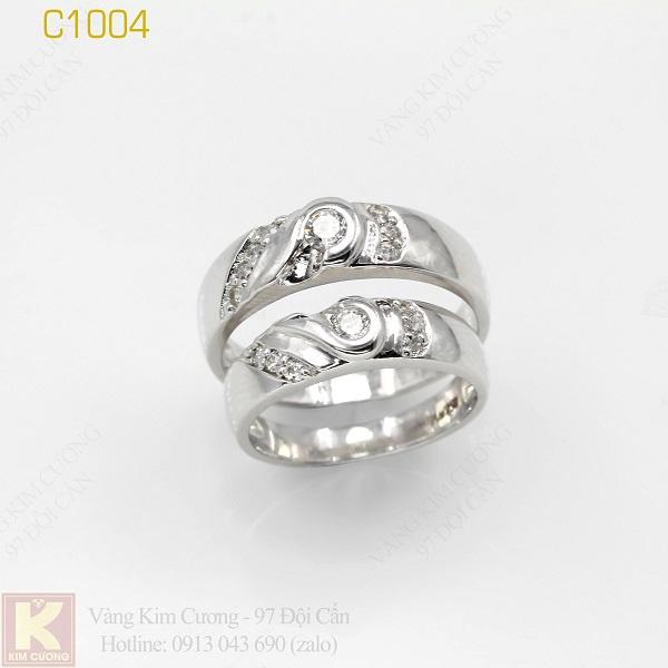 Nhẫn cưới vàng trắng 18k italy C1004