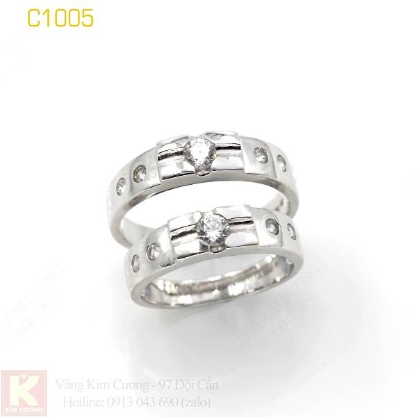 Nhẫn cưới vàng trắng 18k italy C1005