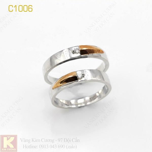 Nhẫn cưới vàng trắng 18k italy C1006