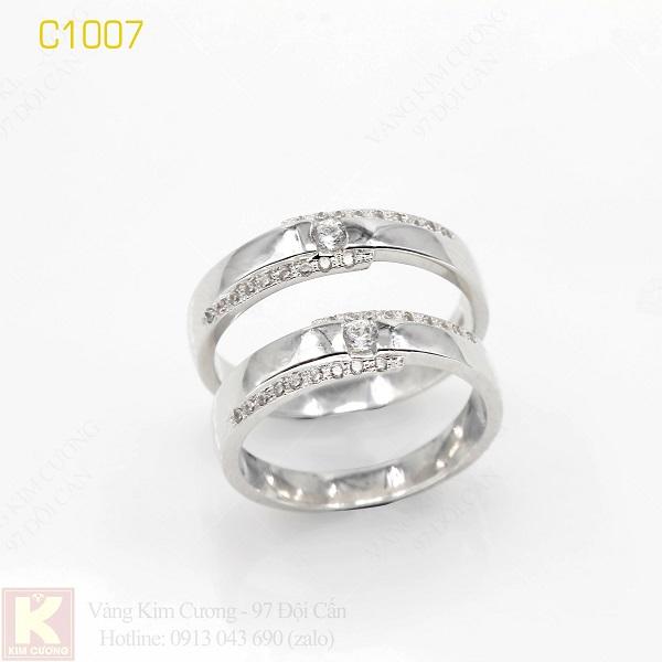 Nhẫn cưới vàng trắng 18k italy C1007