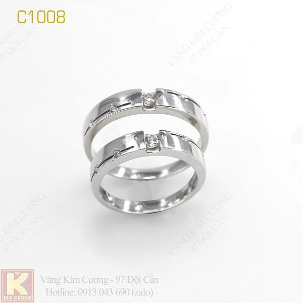 Nhẫn cưới vàng trắng 18k italy C1008