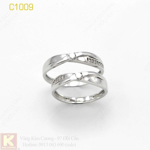 Nhẫn cưới vàng trắng 18k italy C1009