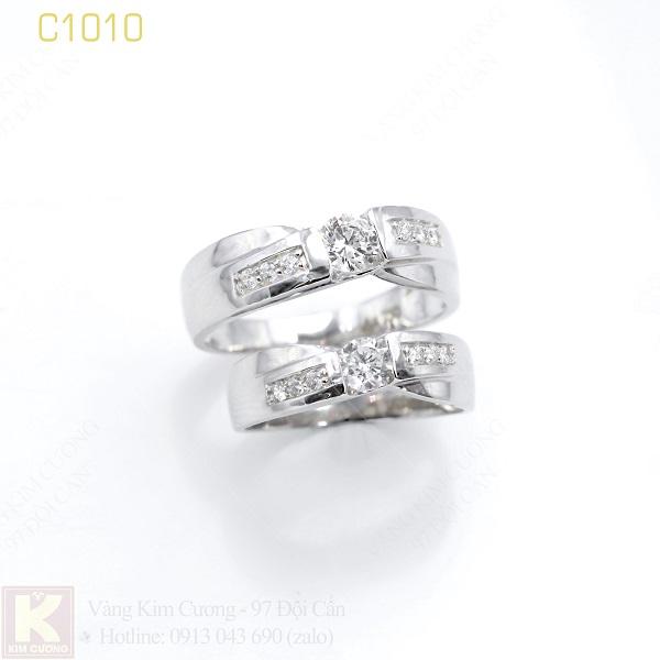 Nhẫn cưới vàng trắng 18k italy C1010