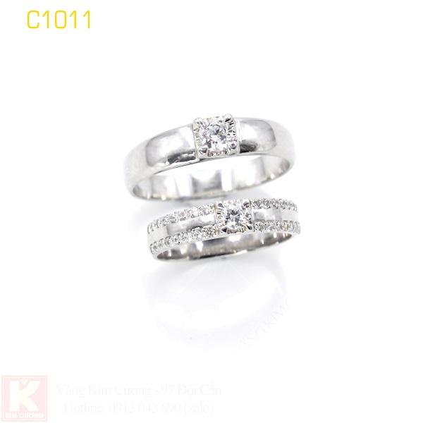 Nhẫn cưới vàng trắng 18k italy C1011