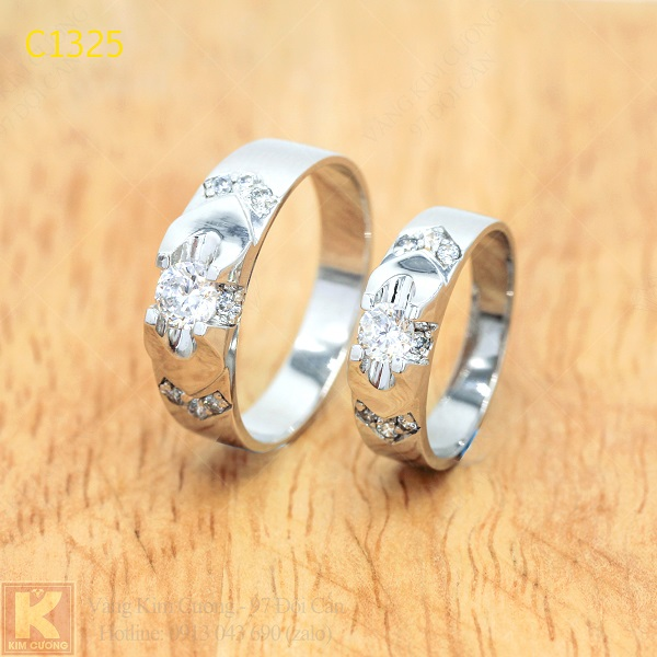 Nhẫn cưới kim cương 14k C1325