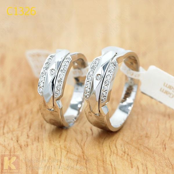 Nhẫn cưới kim cương italy 18k C1326