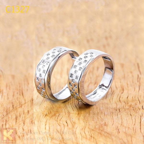 Nhẫn cưới kim cương italy 18k C1327