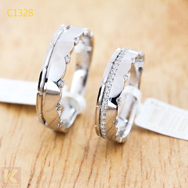 Nhẫn cưới kim cương italy 18k C1328