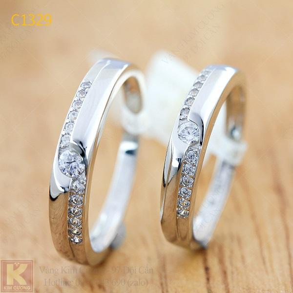 Nhẫn cưới kim cương italy 18k C1329
