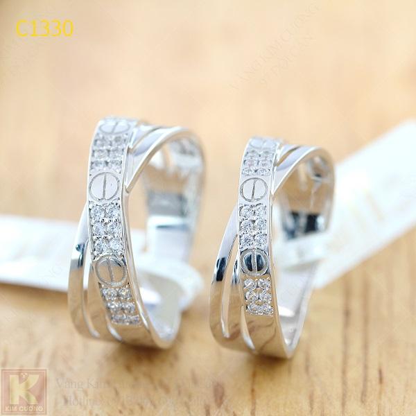Nhẫn cưới kim cương italy 18k C1330