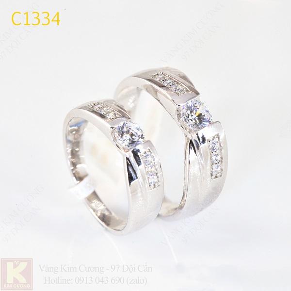 Nhẫn cưới kim cương italy 18k C1334