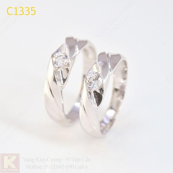 Nhẫn cưới kim cương 14k C1335