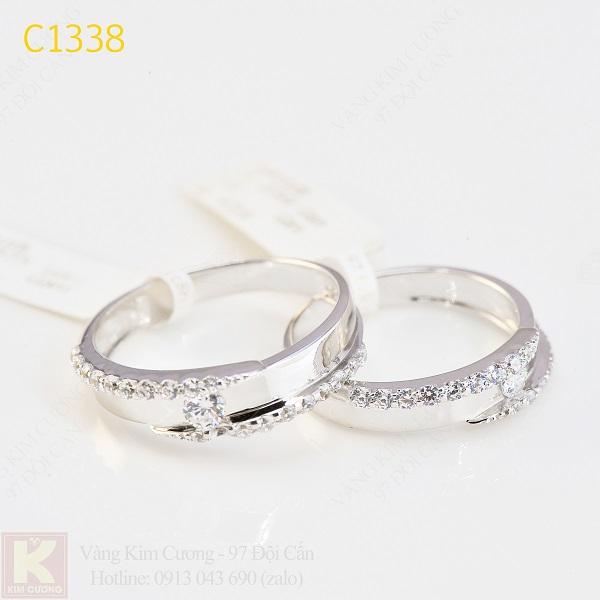 Nhẫn cưới kim cương italy 18k C1338