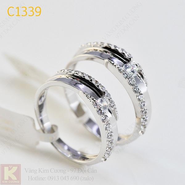 Nhẫn cưới kim cương italy 18k C1339