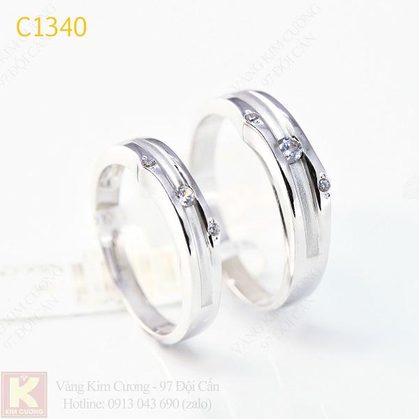Nhẫn cưới kim cương italy 18k C1340