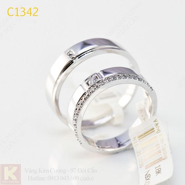 Nhẫn cưới kim cương italy 18k C1342