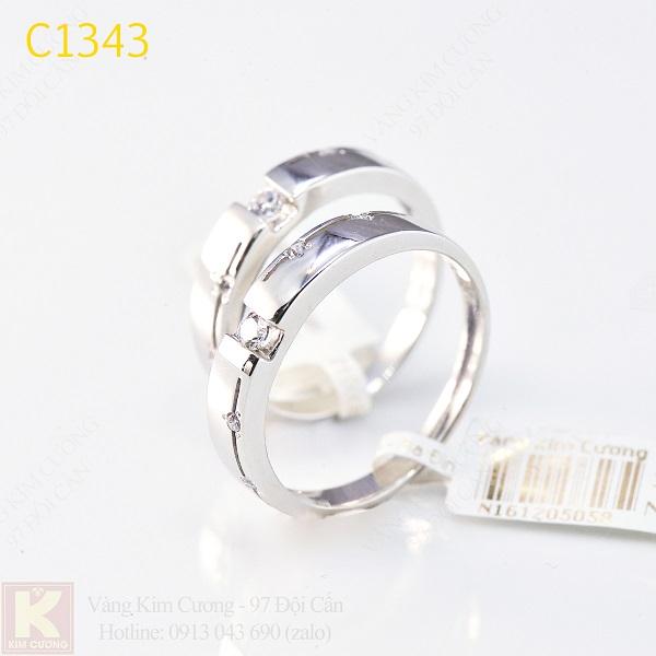 Nhẫn cưới kim cương italy 18k C1343