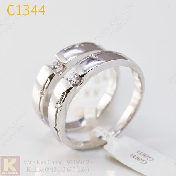 Nhẫn cưới kim cương italy 18k C1344