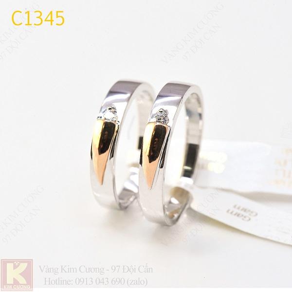 Nhẫn cưới kim cương italy 18k C1345