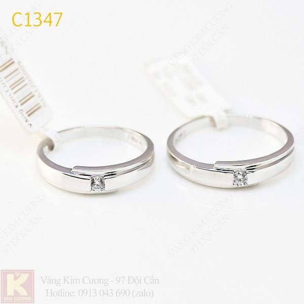 Nhẫn cưới kim cương italy 18k C1347