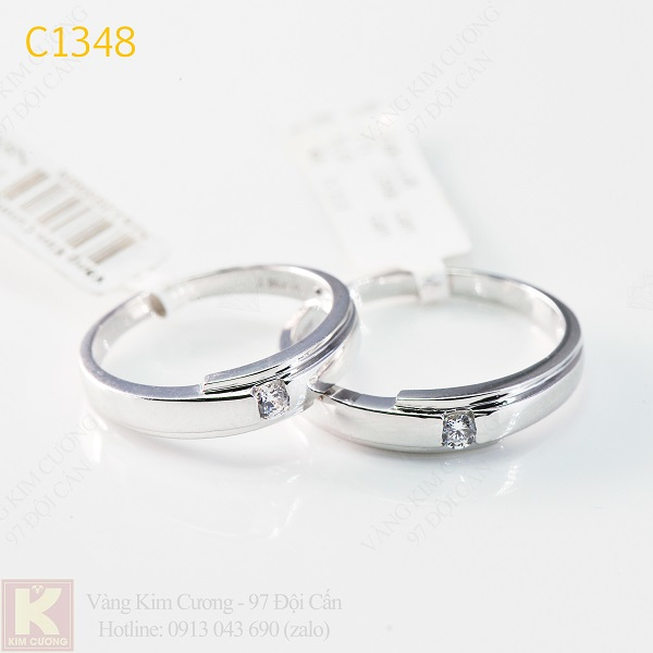 Nhẫn cưới kim cương 18k italy C1348